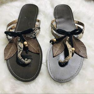 Chinese Laundry Boho Leaves Snakeskin Sandals 8.5